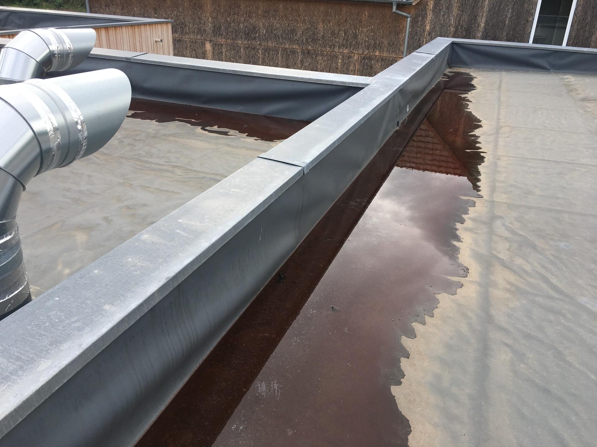 Maison à ossature bois: présence de stagnations d'eau en bas de pente